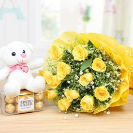 "12 Yellow Rose, 16 Pcs Ferrero Rocher and a 6"" cute teddy"
